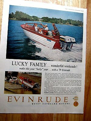 1959 Evinrude Outboard Motor  LUCKY FAMILY Print Ad 10 x 13 inches