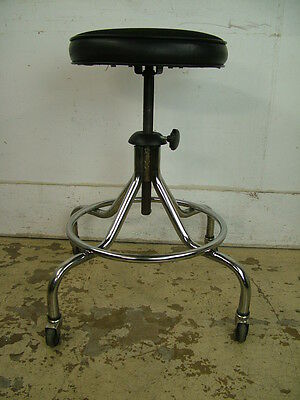 MCM Heavy Duty Vintage Salon Medical Rolling Spider Chrome Exam Stool w Footrest