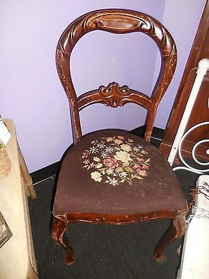 Antique Highly Carved Balloon Back Chair Needlepoint