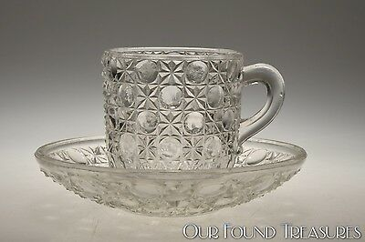 c. 1887 No. 130 CURRIER & IVES Co-Operative Flint CRYSTAL Cup & Saucer Set