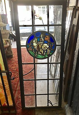 Antique Vintage Stained Glass Leaded Steel Casement Window Spanish Tudor Style