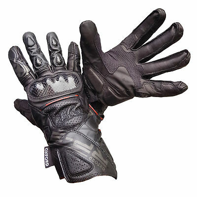 Oxford RP-2 Summer Leather Sports Motorcycle Motorbike Gloves - Stealth Black