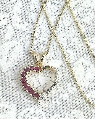 Vintage .925 2-Tone Sterling Silver Vermeil & Ruby, Heart Pendant Necklace 18""