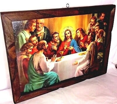 Last Supper Painting/Print La Ultima Cena Mexico folk art wood frame glassed Lg