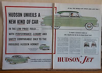 1953 two page magazine ad for Hudson - green Jet, Compact Economical Wonder Car
