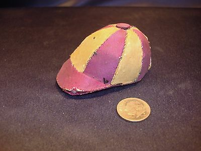 Antique Handmade Figural Baseball Cap Pin Cushion Burgundy Red White Silk