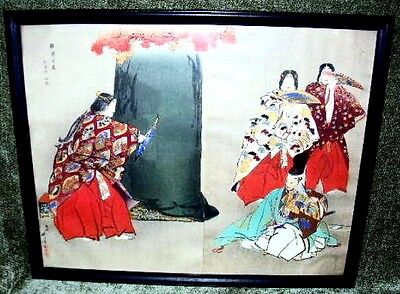 19th c Japanese Watercolor Painting on Paper, Signed