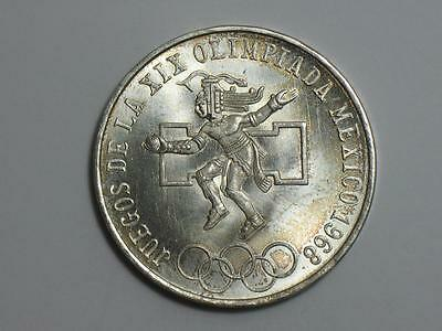 1968 Mexico 25 Pesos - 720 Fine Silver - Mexican Olympiad Foreign Coin