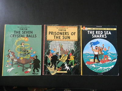 Lot of 3 Vintage -  The Adventures of TinTin -  by Herge 1970s Soft Cover Books