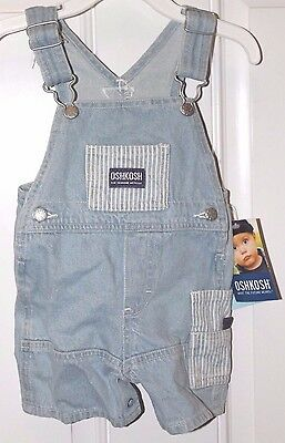 Oshkosh Striped Jean Overalls Shorts Unisex Toddler Size 3-6 Months Nwt
