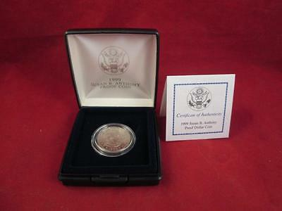 United States Mint 1999 P Susan B Anthony Cameo Proof Coin w/ COA & Mint Box