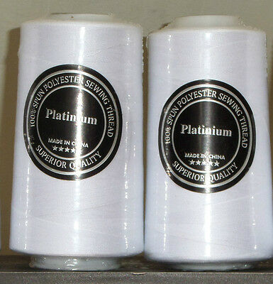 Two Cones Bobbins/Sewing Threads 2x5000Y White