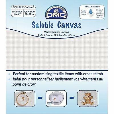 """DMC SOLUBLE CANVAS 14ct 8"""" x 8.5"""" 20cm x 22cm FREE UK POSTAGE AND PACKING"""