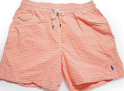 New With Tag Ralph Lauren POLO Mens Swim Shorts NEW! Orange Gingham Size XL
