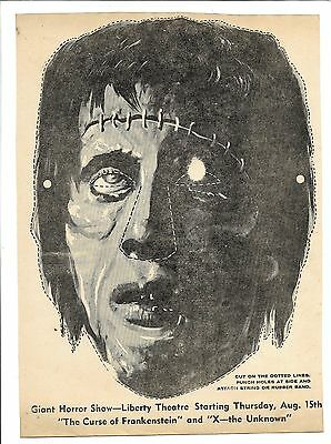 Vintage paper cut-out mask advertising-1957 Curse of Frankenstein, X-the Unknown