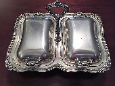 Antique Silver Covered Double Bowls Serving Dish