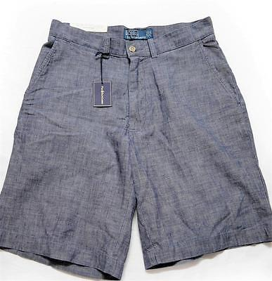 New With Tag Ralph Lauren POLO Mens Flat Front Shorts Chambray Size 31
