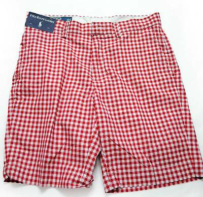 New with Tag Ralph Lauren POLO Mens Flat Front Shorts RED GINGHAM Size 32