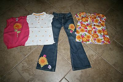 Girl's Gymboree Sunflower Smiles Jeans Shirt Sweater Lot size 7 8 Slim