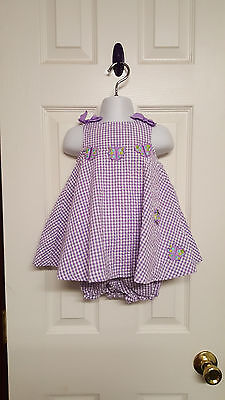 Girls Size 12 Months Baby Crew  White & Purple Butterfly Dress & Bloomers