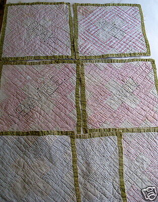 Antique Pactchwork Hand Quilt Block Squares Lot of 7 Vintage 4 with Embroidery