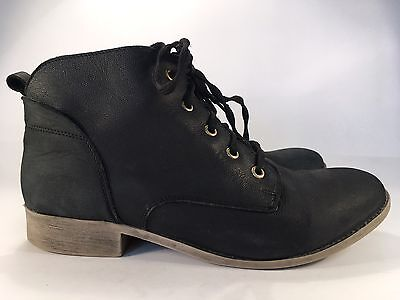Steve Madden Black Leather Ankle Boots Women's Sz 10M Lace Up Low Heel