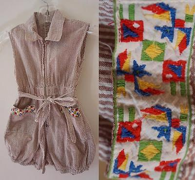 FABULOUS Vintage 60's Seersucker Jumper Sunsuit Romper Dress Sun Suit 2T 18Mo