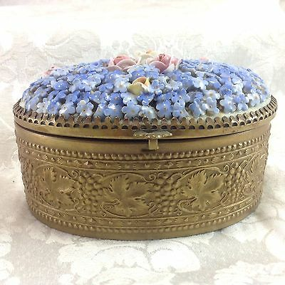 Von Schierholz Germany Porcelain Flowers Trinket Jewelry Box Roses Vintage Metal