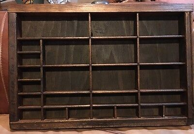 PRINTERS TYPE CASE Or DRAWER End Section Lg Openings Stained Handle Shadow Box
