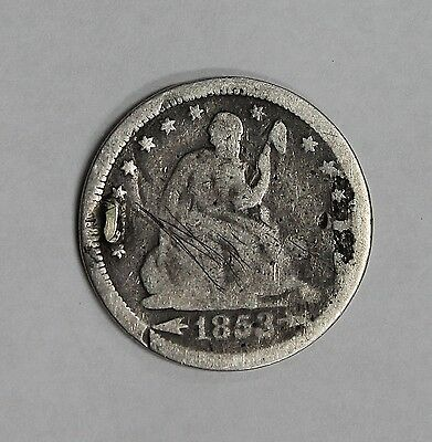 1853 Seated Liberty Quarter Intricately Inscribed Love Token Very Unique!