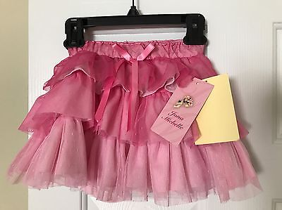 NWT Girls JONA MICHELLE Size 4T Pink Skirt Tutu With Pink Bow And Shorts