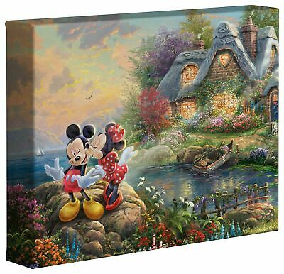 Thomas Kinkade Mickey and Minnie Sweetheart Cove 8 x 10 Gallery Wrap Disney