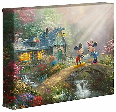 Thomas Kinkade Studios Mickey and Minnie Sweetheart Bridge 8 x 10 Gallery Wrap