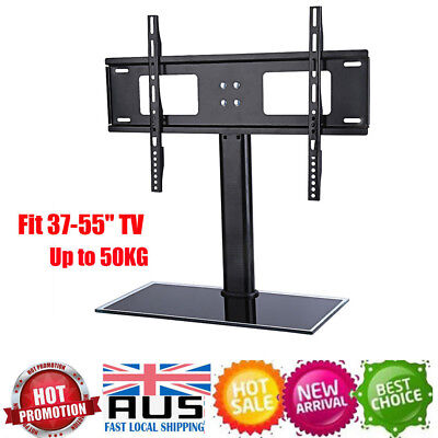 Universal LCD LED Plasma VESA Mount Bracket Desktop Glass Base TV Stand 37-55""