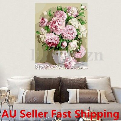 30X40cmBeauty Peony Flower Digital Acrylic Oil Painting By Number Kit DIY Canvas