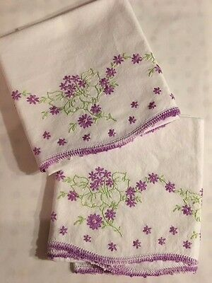BEAUTIFUL Vintage Crochet and Embroidered Floral Pillowcases