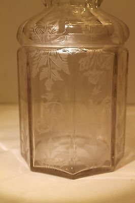Vintage/Antique Etched Lidded Glass Jar