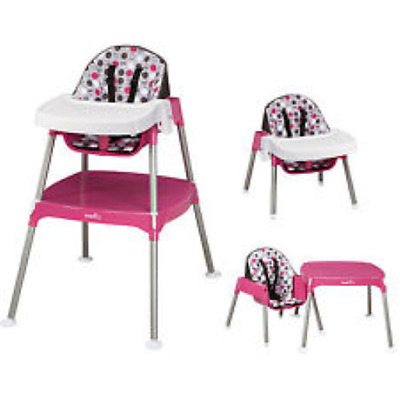 Convertible High Chair Baby Table Seat Booster Toddler Evenflo 3 in 1, Rose