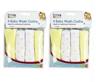 Pack of 8 Soft Baby Wash Cloths Towel Flannel Machine Wash from 0 Months +