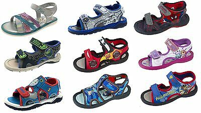 Kids Character Summer Sandals Adjustable Straps Flat Beach Shoes Boys Girls Size