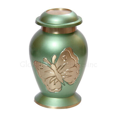 Memorial Cremation Urn Ashes - Teal Butterfly Small Keepsake Urn, Funeral Urns