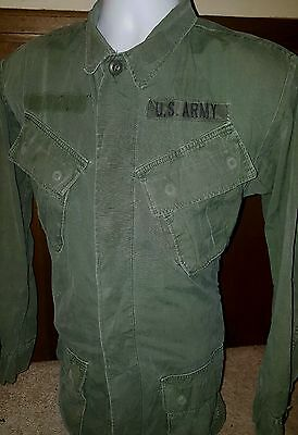 Vtg 1969 Us Army Vietnam Jungle Jacket Slant Pocket Rip Stop Small Long