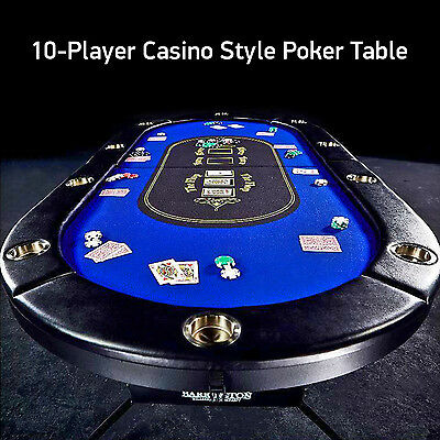 10-Player Poker Blackjack Table Barrington Casino Style 10 Built-in Drink Holder