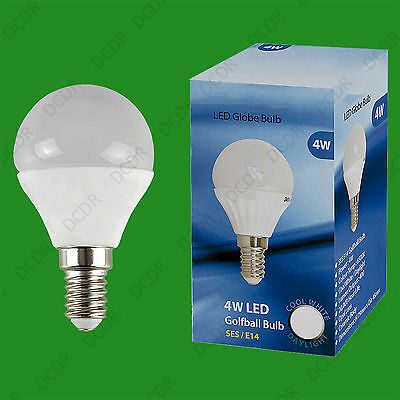 2x 4W (=40W) E14 6500K Daylight White G45 Round Golf Ball LED Light Bulb Lamp