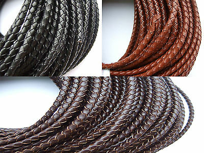 1 Meters 4mm Round Genuine Bolo Braided Leather Cord String DIY Craft Jewelry