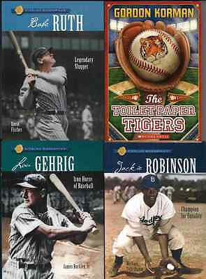 LOU GEHRIG Jackie Robinson BABE RUTH Gordon Korman Lot of BOOKS