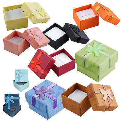 24 Pcs Ring Earring Jewelry Display Gift Box Bowknot Square Case yellow Y8L6