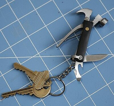 Kikkerland Mini Wood Hammer 7 In 1 Pocket Multi Tool Keyring Compact Travel Gift