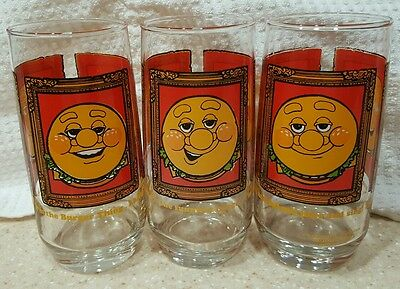 VINTAGE Three 1979 Burger King Collector Glass-Burger Thing Glasses