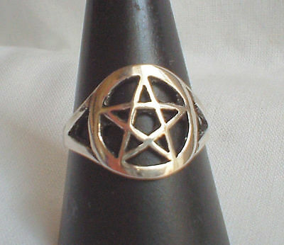 Classic Pentagram Pentacle Ring 925 Silver~Witch~Wicca~Goth~New Pagan Jewellery